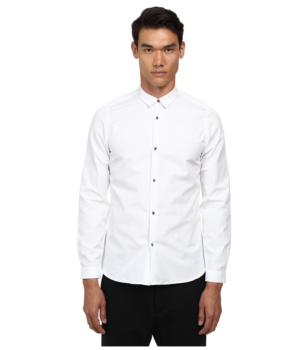 The Kooples - Faille Shirt w/ Skull Buttons (White) Men's Long Sleeve Button Up