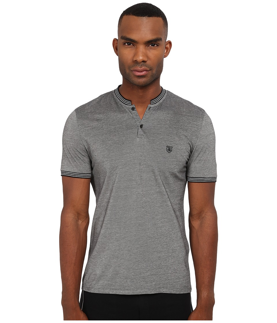 The Kooples - Bicolor Tipped Collar Pique Polo (Grey) Men