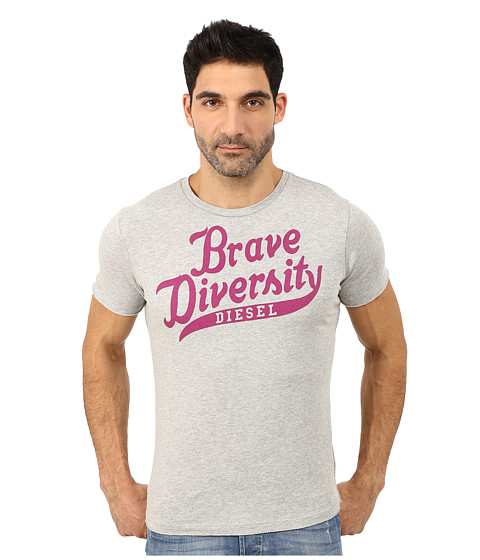 Diesel - T-Brave-Diversity-R T-Shirt (Light Grey Melange) Men's Short Sleeve Pullover