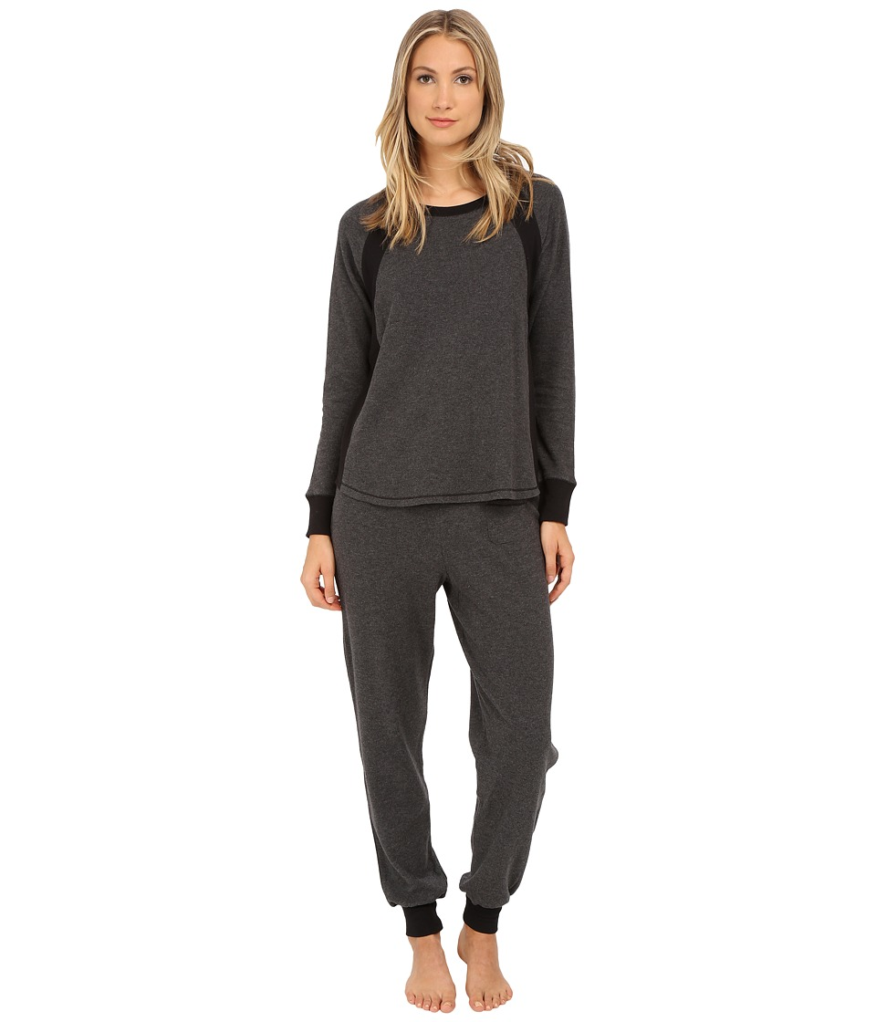 DKNY - Between The Lines Long Sleeve Top and Pants (Charcoal Heather) Women