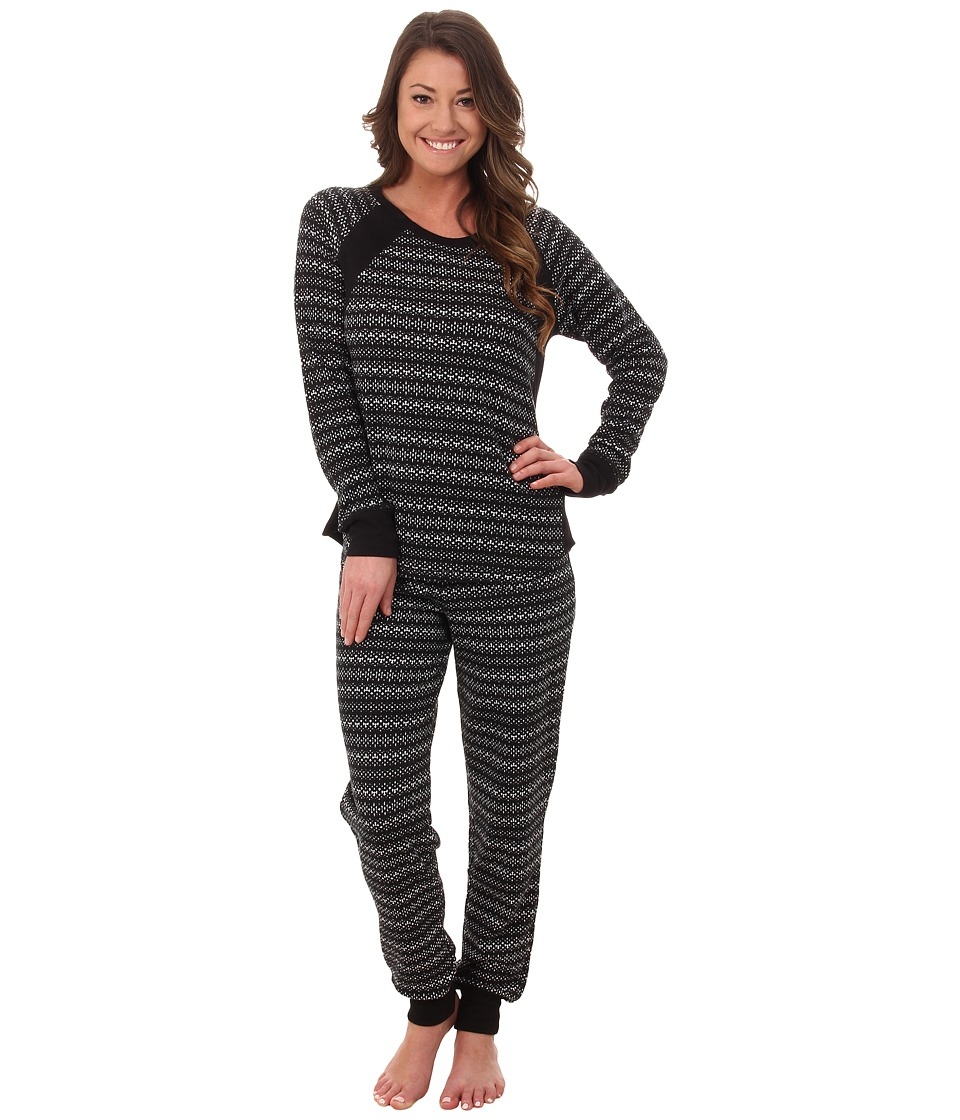 DKNY - Between The Lines Long Sleeve Top and Pants (Black Abstract) Women's Pajama Sets