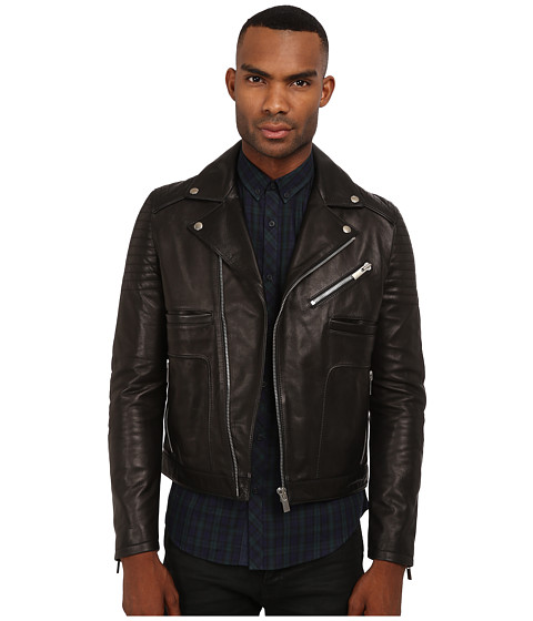 The Kooples - Sport Thick Cow Leather Motorcycle Jacket (Black) Men's Coat