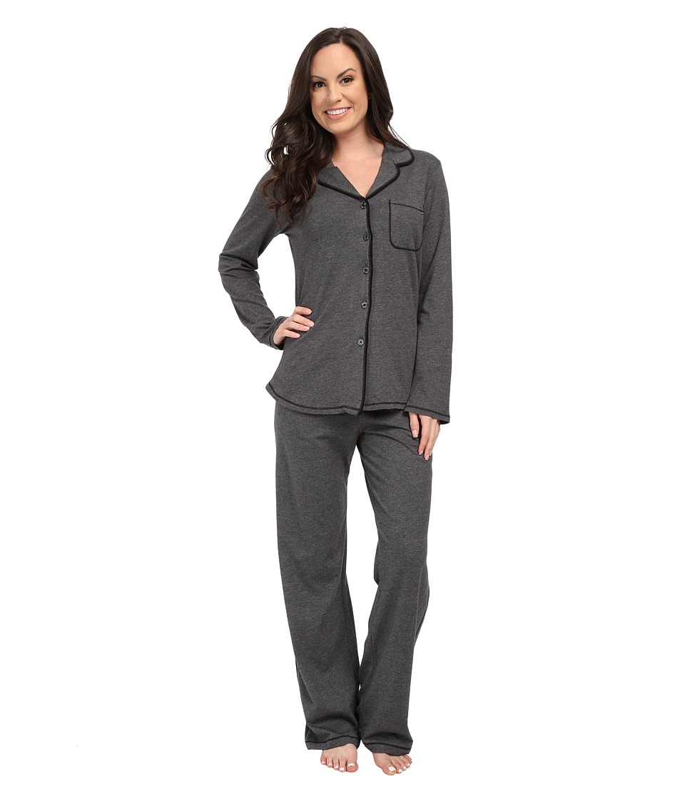 DKNY - Present Perfect Long Sleeve Top and Pants Set (Heather Charcoal) Women