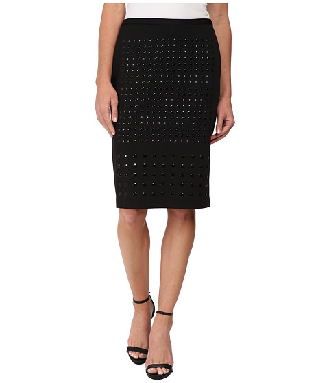 Calvin Klein - Pencil Skirt w/ Large Heatfix (Black) Women's Skirt