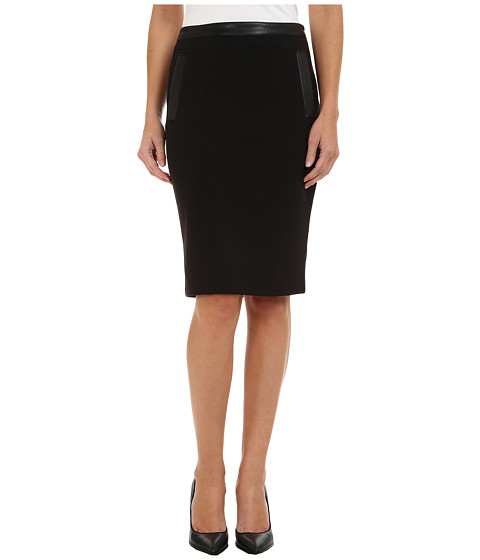 Calvin Klein - Pencil Skirt w/ PU Trim (Black) Women