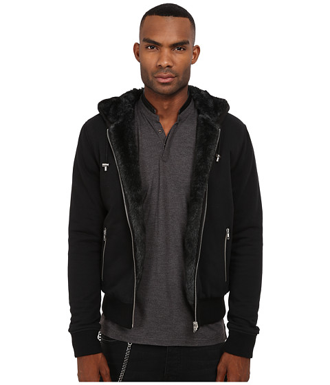 The Kooples - Reversible Supreme Molleton Hoodie (Black) Men's Sweatshirt