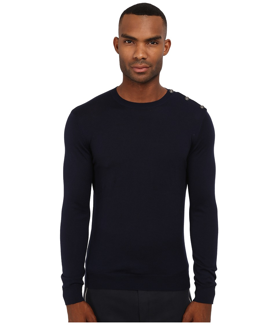 The Kooples - Sport Merino and Metal Button Sweater (Navy) Men