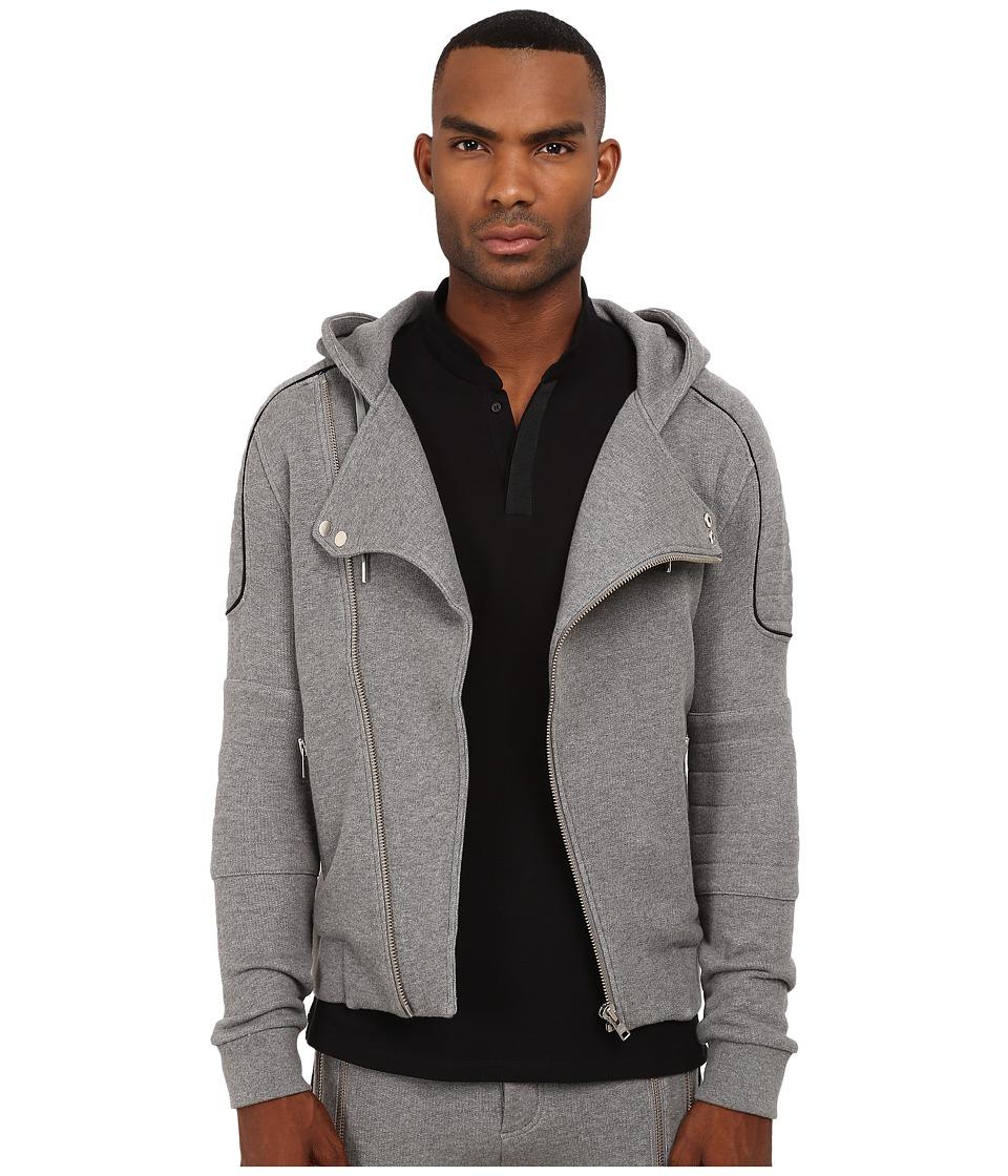 The Kooples - Sport Patch Classic Fleece Motor Hoodie (Grey) Men's Sweatshirt