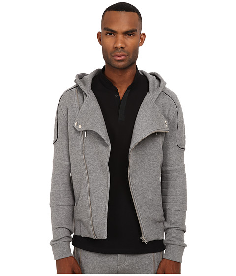 The Kooples - Sport Patch Classic Fleece Motor Hoodie (Grey) Men