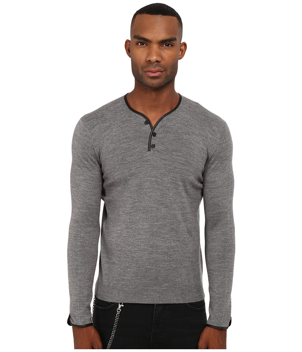 The Kooples - Leather Piping Merino Sweater (Grey) Men's Sweater