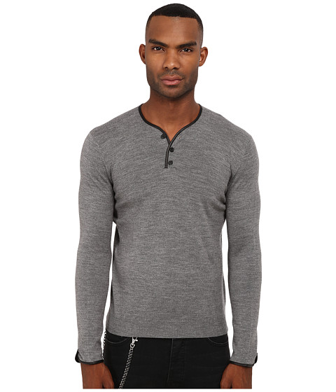 The Kooples - Leather Piping Merino Sweater (Grey) Men's Sweater