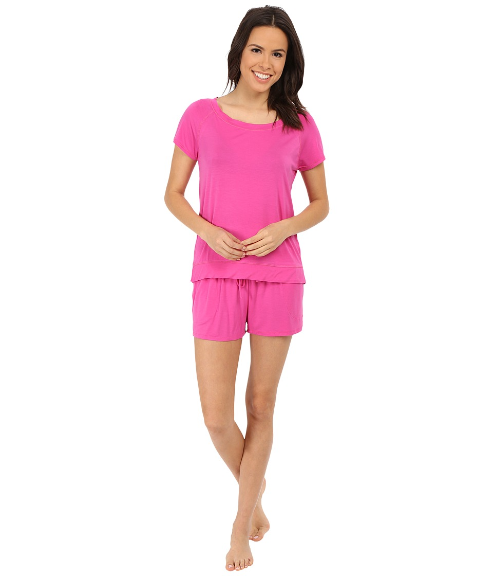 DKNY - Game Changer Short Sleeve Tee and Boxer Set (Splendid Pink) Women
