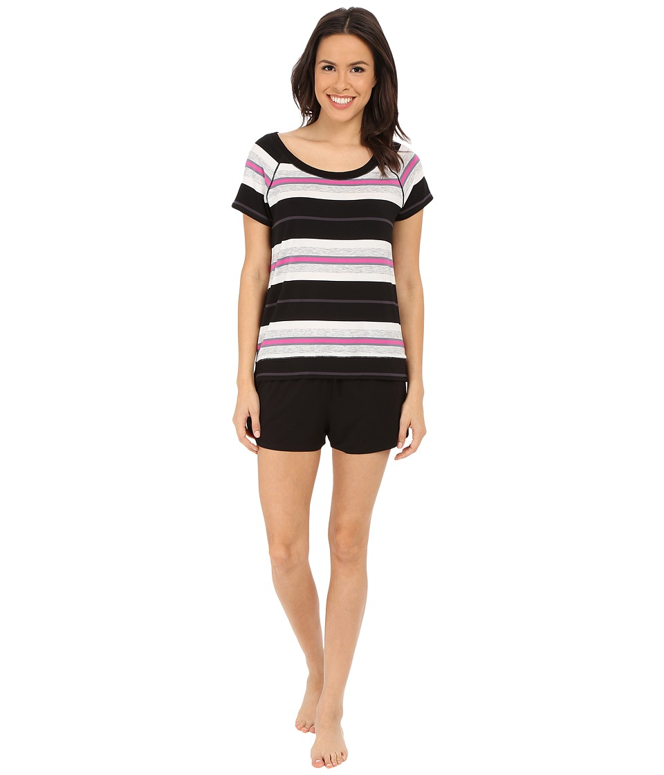 DKNY - Game Changer Short Sleeve Tee and Boxer Set (Black Yarn Dye Multi Stripe) Women's Pajama Sets