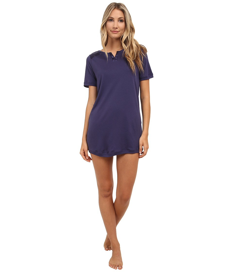 Hanro - Garance Short Sleeve Sleepshirt (Royal Blue) Women's Pajama