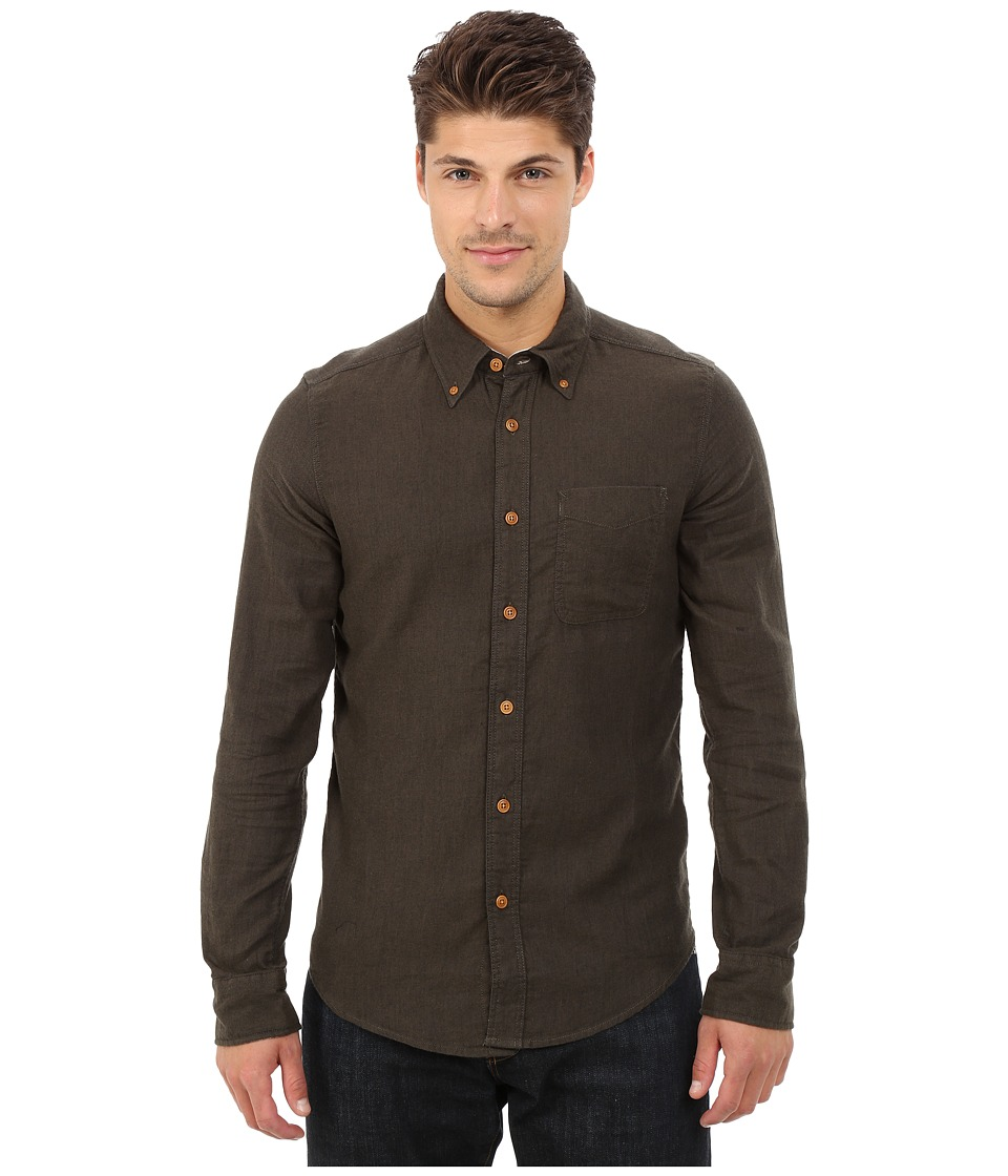 Deus Ex Machina - Albie Brushed Long Sleeve Shirt (Forest) Men's Long Sleeve Button Up