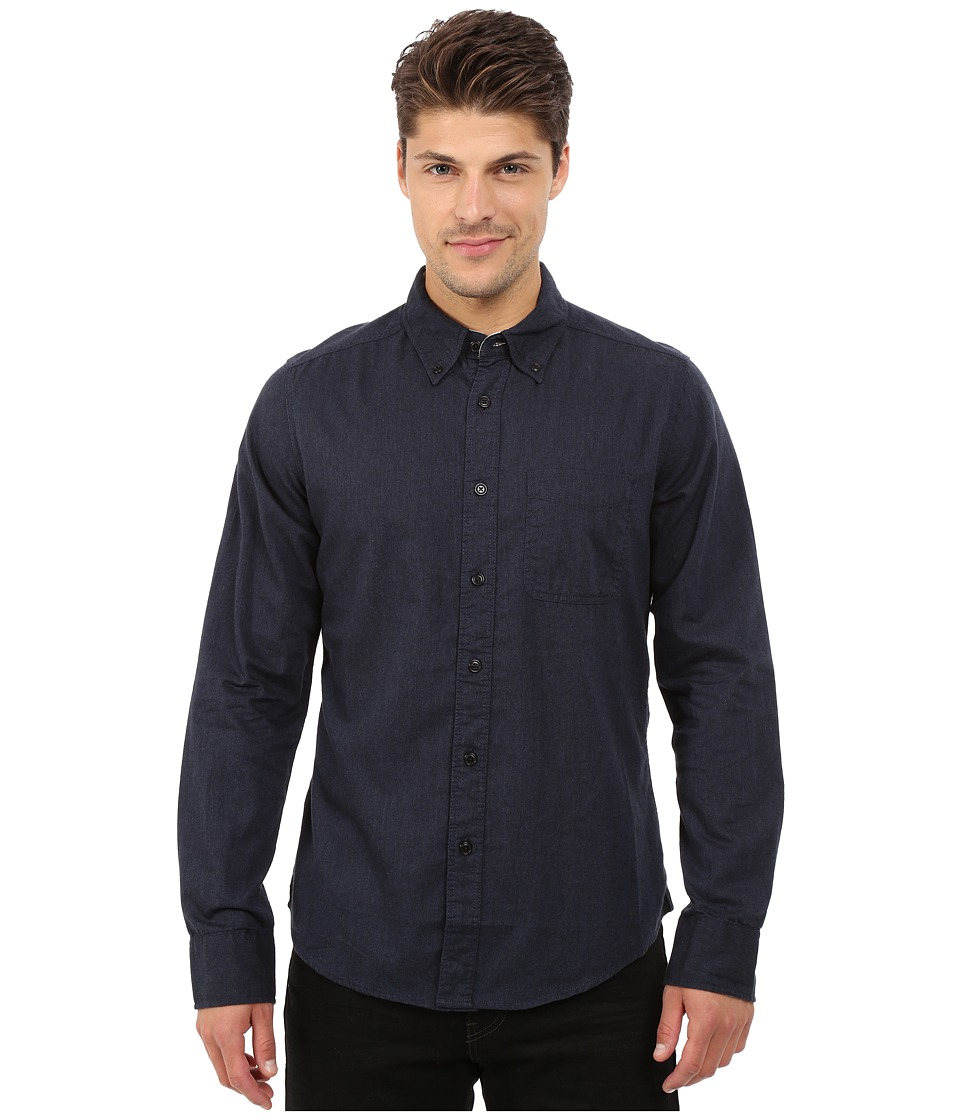 Deus Ex Machina - Albie Brushed Long Sleeve Shirt (Navy) Men's Long Sleeve Button Up