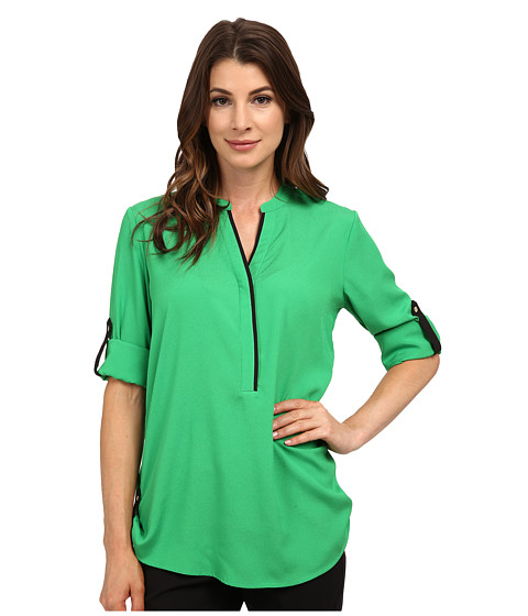 Calvin Klein - Half Button Roll Sleeve (Fern) Women