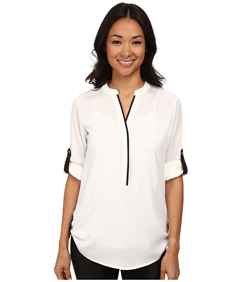 Calvin Klein - Half Button Roll Sleeve (Soft White) Women's Clothing