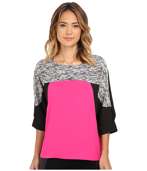 Calvin Klein - Print 3/4 Sleeve Color Block Top (Static) Women