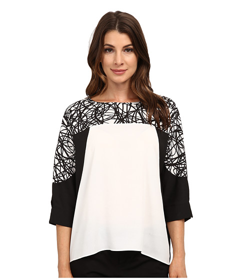 Calvin Klein - Print 3/4 Sleeve Color Block Top (String) Women