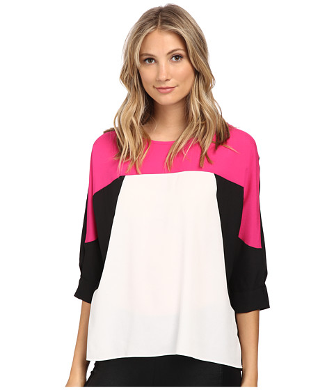 Calvin Klein - 3/4 Sleeve Print Block Top (Pnk Glo) Women