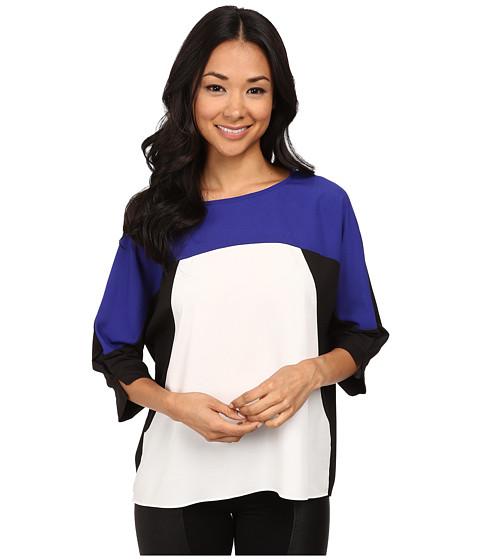 Calvin Klein - 3/4 Sleeve Print Block Top (Byzantine) Women's Clothing