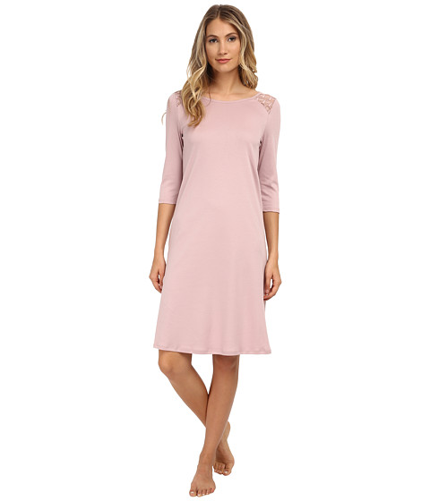 Hanro - Clotilde 3/4 Sleeve Gown (Rose Dust) Women's Pajama