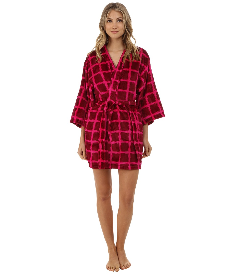 Josie - Plaid Plush Robe (Wine) Women's Robe plus size,  plus size fashion plus size appare
