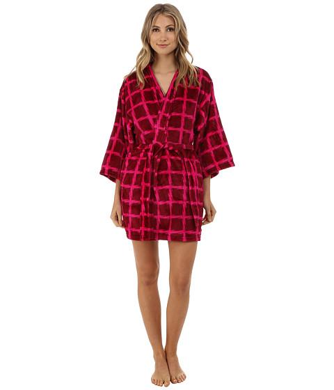 Josie - Plaid Plush Robe (Wine) Women's Robe