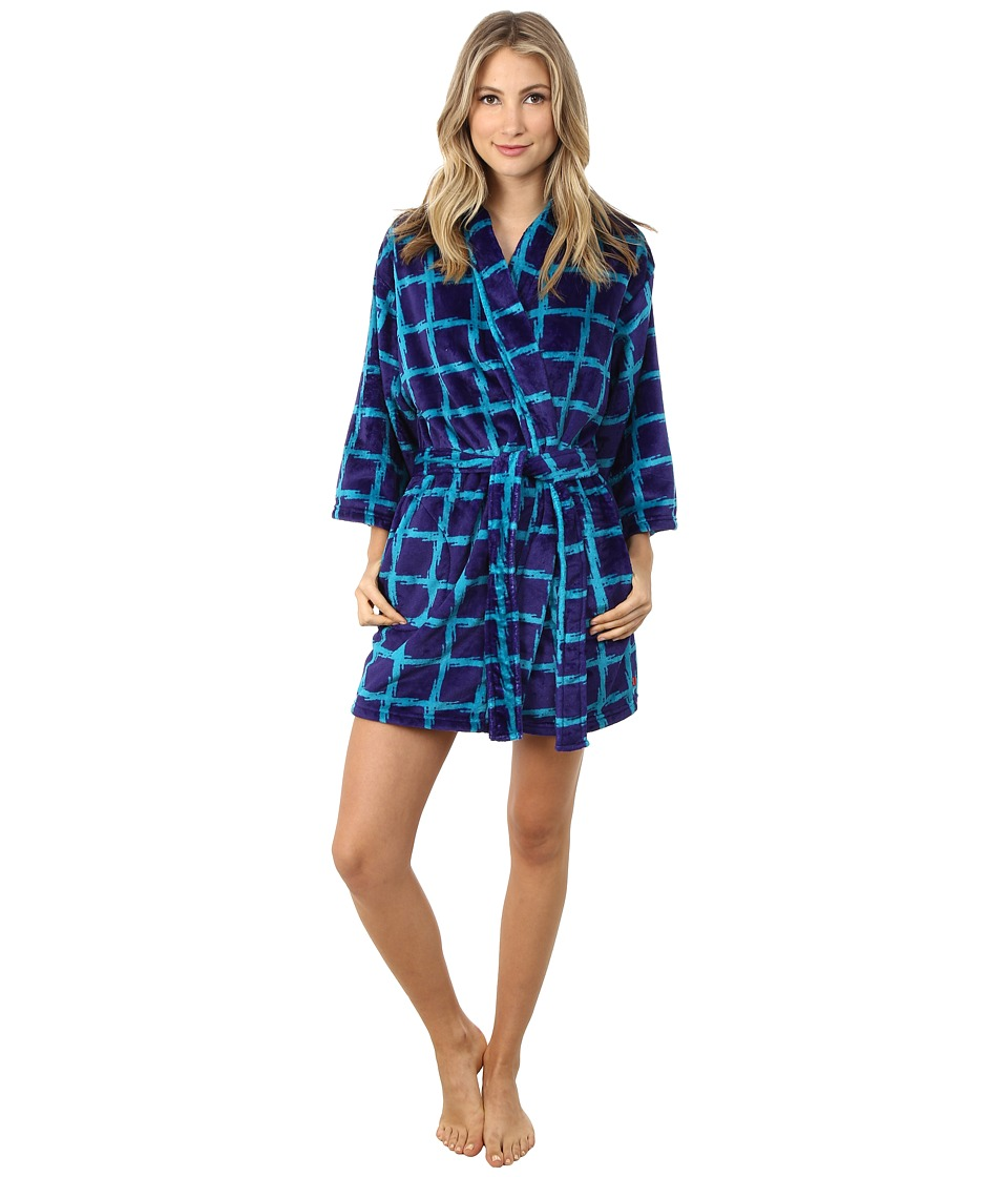Josie - Plaid Plush Robe (Blue) Women's Robe