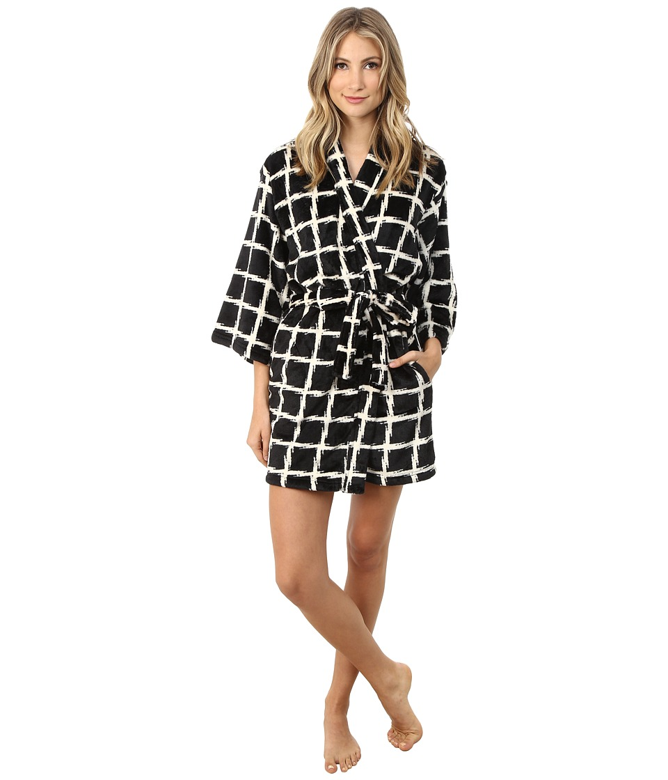 Josie - Plaid Plush Robe (Black) Women's Robe