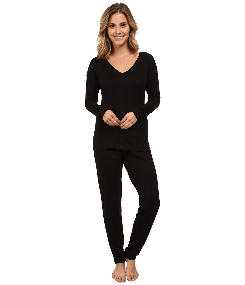 Josie - Brushed Jersey PJ (Black) Women's Pajama Sets