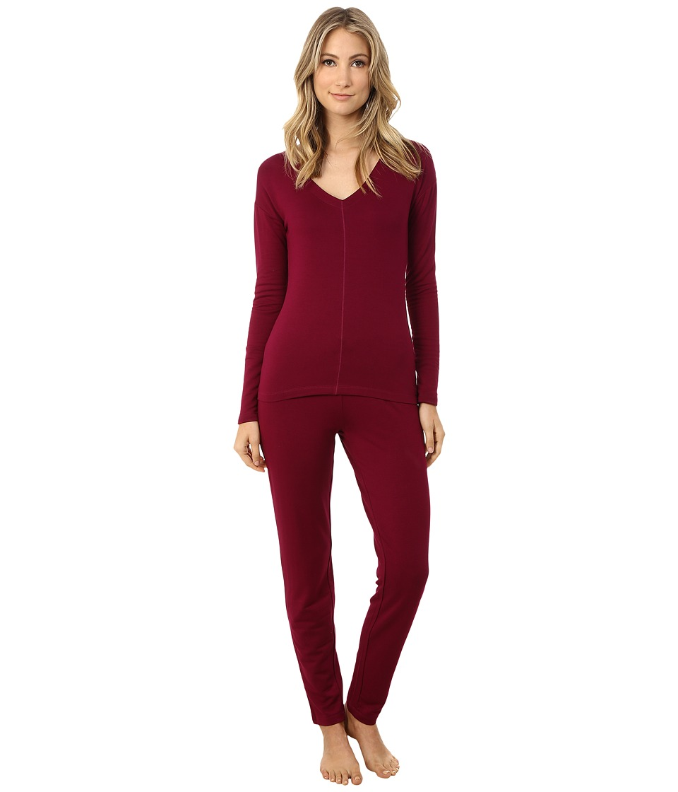 Josie - Brushed Jersey PJ (Bordeaux) Women's Pajama Sets