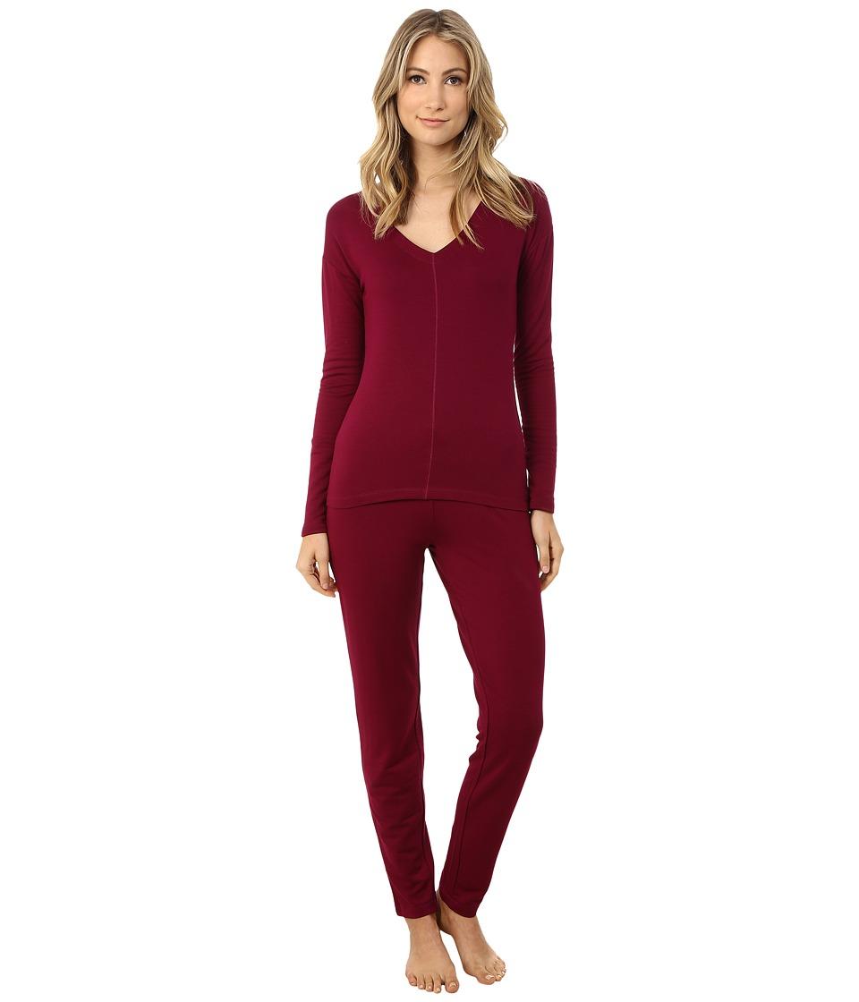 Josie - Brushed Jersey PJ (Bordeaux) Women's Pajama Sets