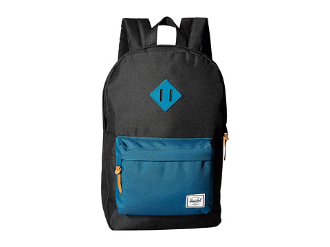 Herschel Supply Co. - Heritage Medium Volume (Black/Ink Blue Rubber) Backpack Bags