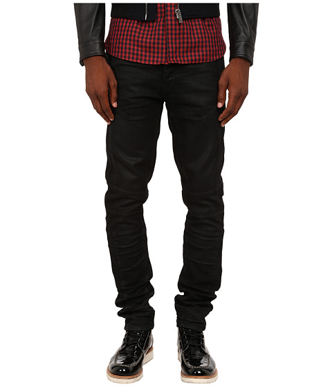 The Kooples - Waxed Black Slim Motor Denim (Black) Men's Jeans