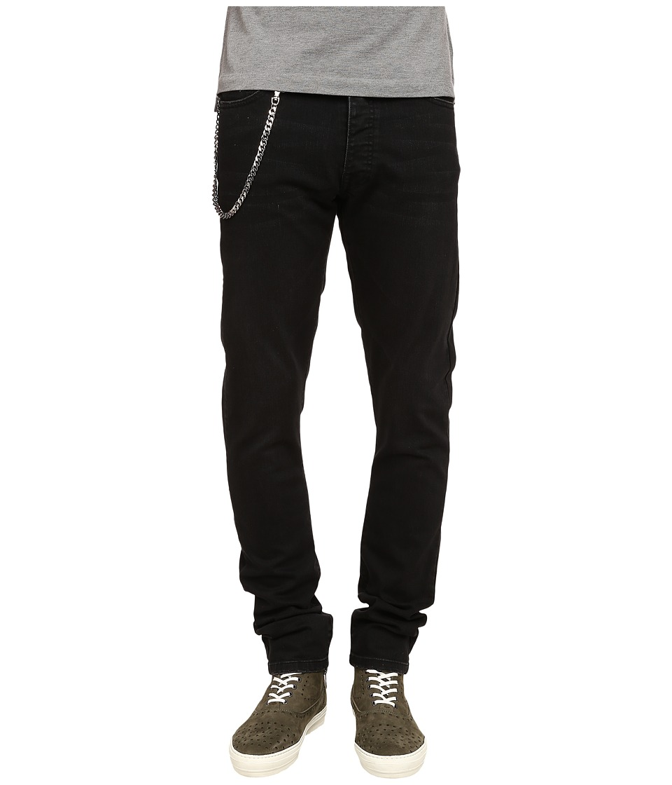 The Kooples - Washed Black Slim Denim w/ Chain (Black) Men's Jeans