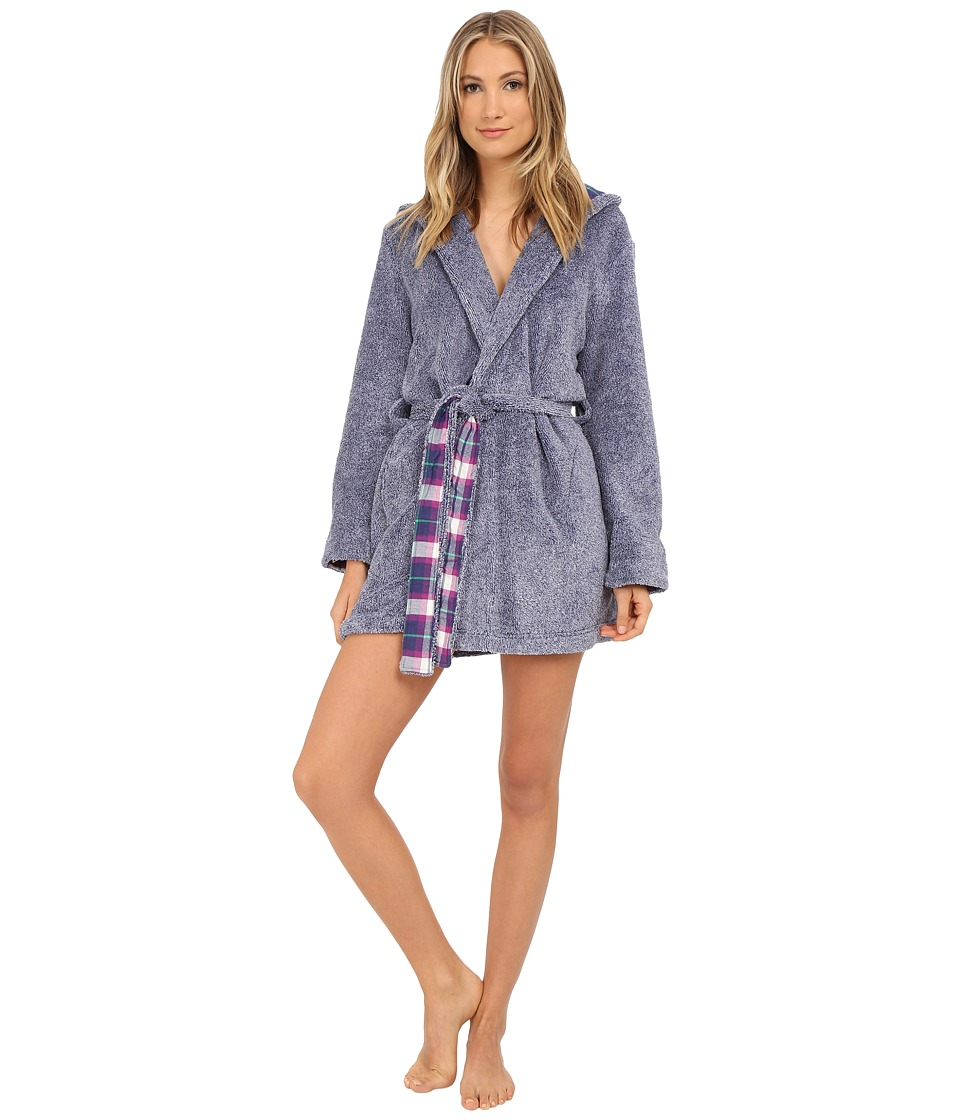 Jane & Bleecker - Two-Tone Plush Flannel Robe 3541069 (Patriot Blue) Women's Robe plus size,  plus size fashion plus size appare