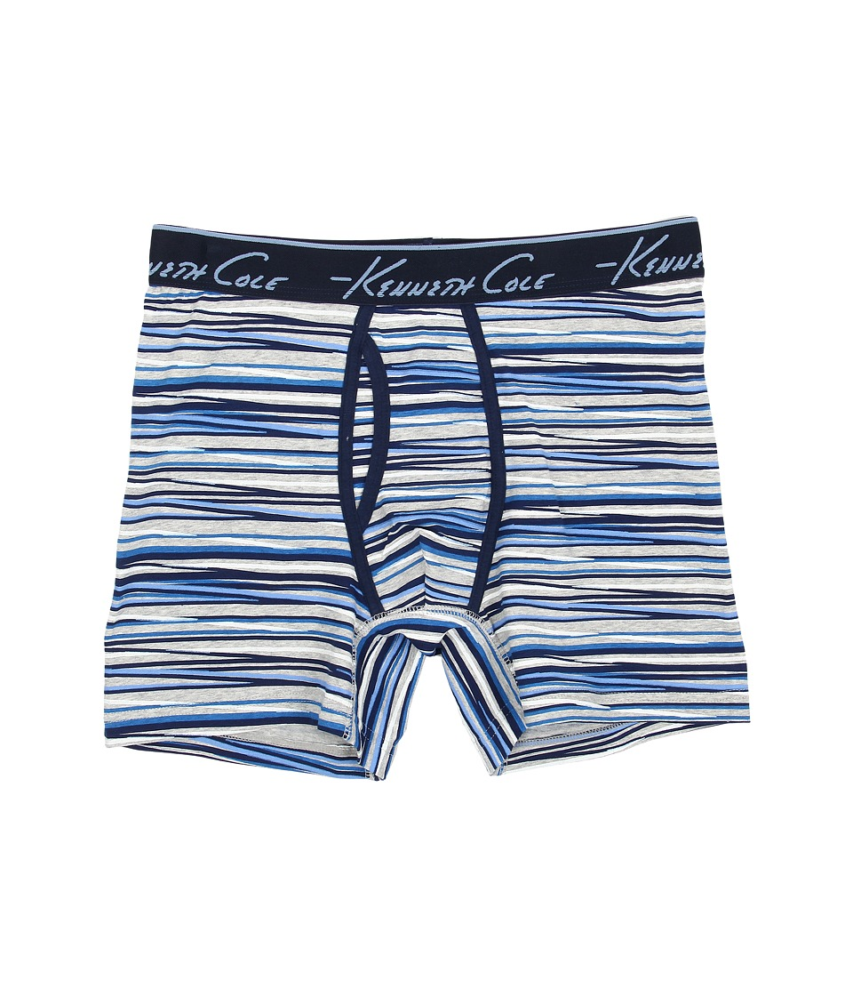 Kenneth Cole Reaction - Boxer Brief (Blue Zigzag Stripe) Men's Underwear