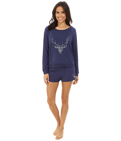 Jane & Bleecker - Vintage Jersey Short Lounge Set 3501066 (Patriot Blue) Women's Pajama Sets