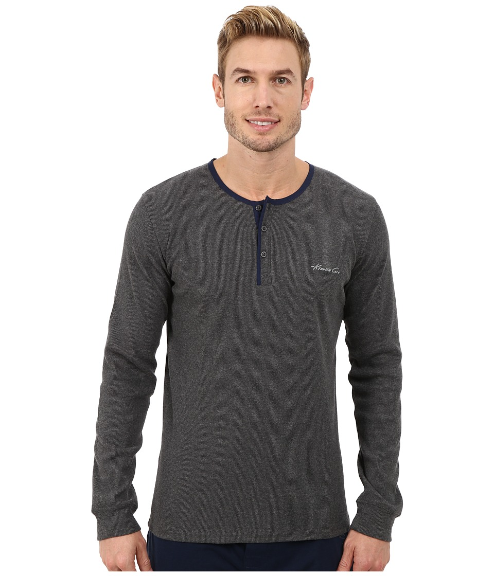 Kenneth Cole Reaction - Ribbed Long Sleeve Henley (Dark Grey Heather) Men's Pajama
