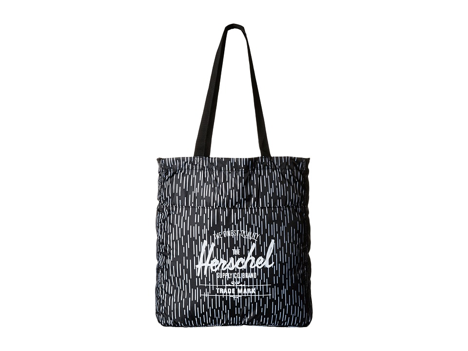 Herschel Supply Co. - Packable Travel Tote Bag (Black/White Rain Camo) Tote Handbags