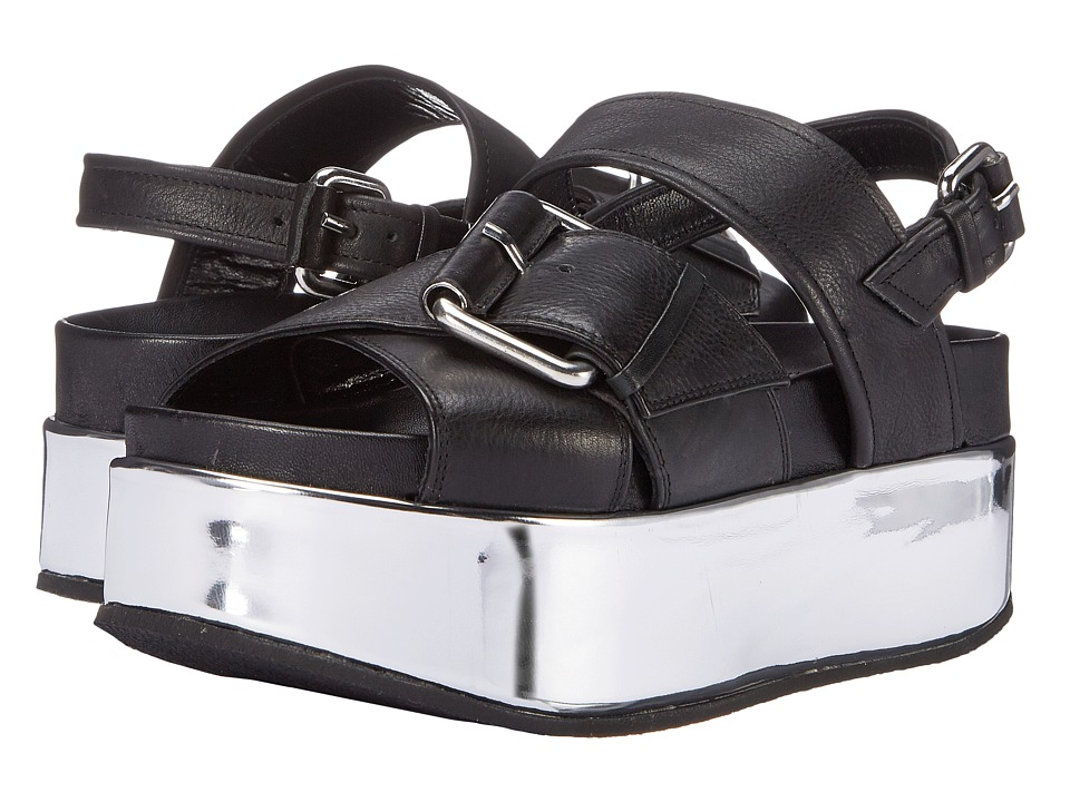 McQ - Catch Wedge Sandal (Black) Women's Wedge Shoes