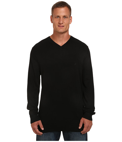 Nautica Big & Tall - Big Tall V-Neck Cotton Model (True Black) Men's Sweater