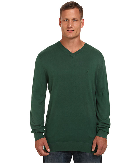 Nautica Big & Tall - Big Tall V-Neck Cotton Model (Hunter Green) Men's Sweater