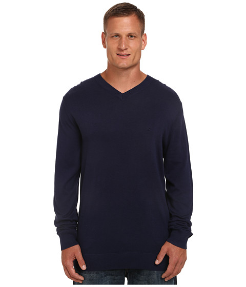 Nautica Big & Tall - Big Tall V-Neck Cotton Model (Peacoat) Men