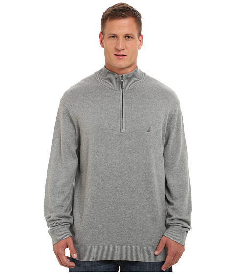 Nautica Big & Tall - Big Tall 1/4 Zip Sweater (Morgans Graphite) Men