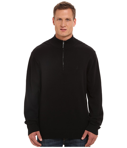 Nautica Big & Tall - Big Tall 1/4 Zip Sweater (True Black) Men