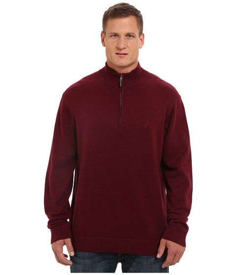 Nautica Big & Tall - Big Tall 1/4 Zip Sweater (Breaken Burgundy) Men's Sweater