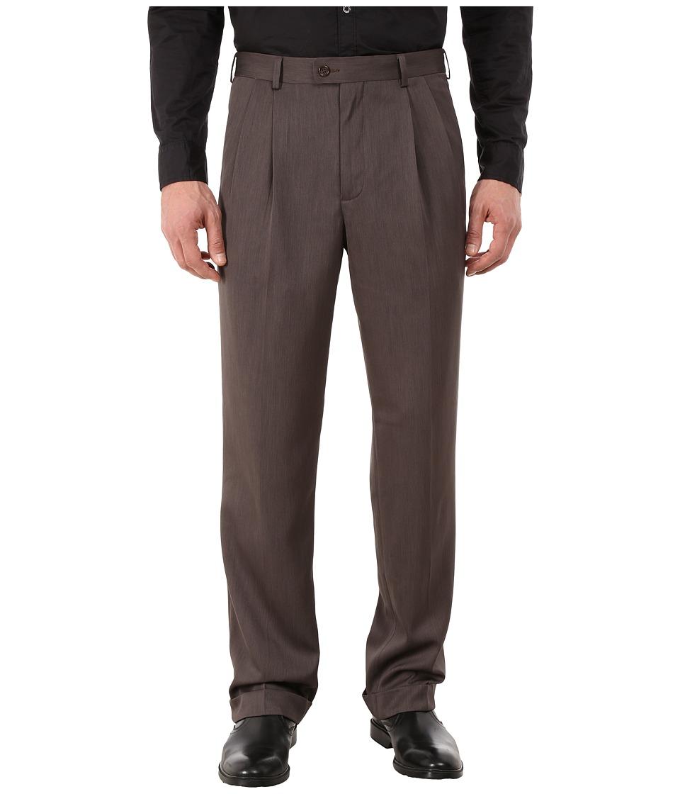 Perry Ellis Portfolio - Classic Fit Double Pleat Micro-Melange Pant (Maple Brown) Men's Casual Pants